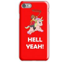 Cowboy Unicorn, Black text iPhone Case/Skin