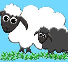 Baby Black Sheep with Ewe Mom by M Fernandez