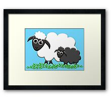 Baby Black Sheep with Ewe Mom Framed Print
