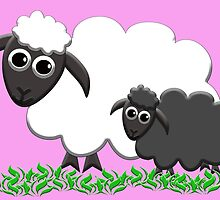 Black Sheep Lamb & Mom in Pink by M Fernandez