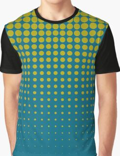 Modern techno shrinking polka dots cerulean blue and gold Graphic T-Shirt
