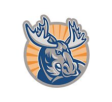 Angry Moose Mascot Retro by patrimonio