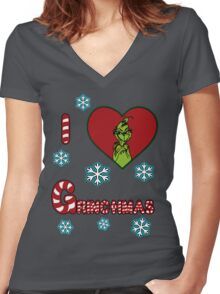 Merry Merry Grinchmas Women's Fitted V-Neck T-Shirt
