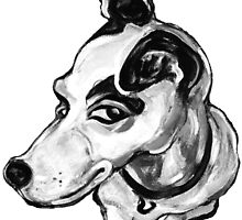 Jumpin' Jack Russell Graphic ~ black and grey tones by Jane Oriel
