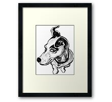 Jumpin' Jack Russell Graphic ~ black and grey tones Framed Print