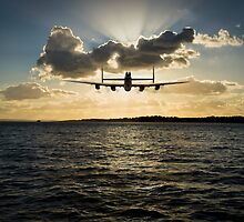 Low-flying Lancaster sunset by Gary Eason + Flight Artworks