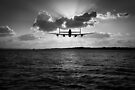 Low-flying Lancaster sunset black and white version by Gary Eason + Flight Artworks
