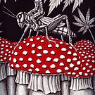 Grasshopper Rider surreal ink pen drawing by Vitaliy Gonikman