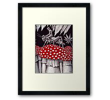 Grasshopper Rider surreal ink pen drawing Framed Print