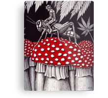 Grasshopper Rider surreal ink pen drawing Metal Print