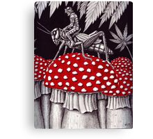 Grasshopper Rider surreal ink pen drawing Canvas Print