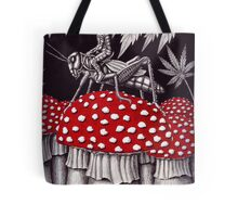 Grasshopper Rider surreal ink pen drawing Tote Bag