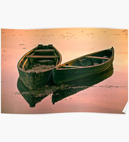 Fishing Cots at Sunset Poster