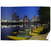 Texas Images - Austin Skyline on an early Saturday Morning from Ladybird Lake Poster