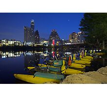 Texas Images - Austin Skyline on an early Saturday Morning from Ladybird Lake Photographic Print