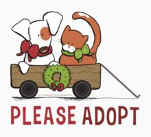 Patch & Rusty™ Christmas Wagon Please Adopt Kids Tee