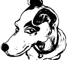 Jumpin' Jack Russell Graphic ~black and white by Jane Oriel