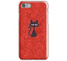 Black Cat with Red Background iPhone Case/Skin