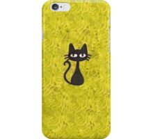 Black Cat with Yellow Background iPhone Case/Skin