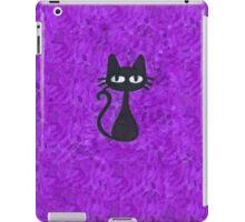Black Cat with Purple Background iPad Case/Skin