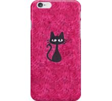 Black Cat with Pink Background iPhone Case/Skin