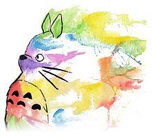 rainbow painting totoro by DinaPurifoy
