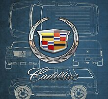 Cadillac 3D Badge over Cadillac Escalade Blueprint by Serge Averbukh