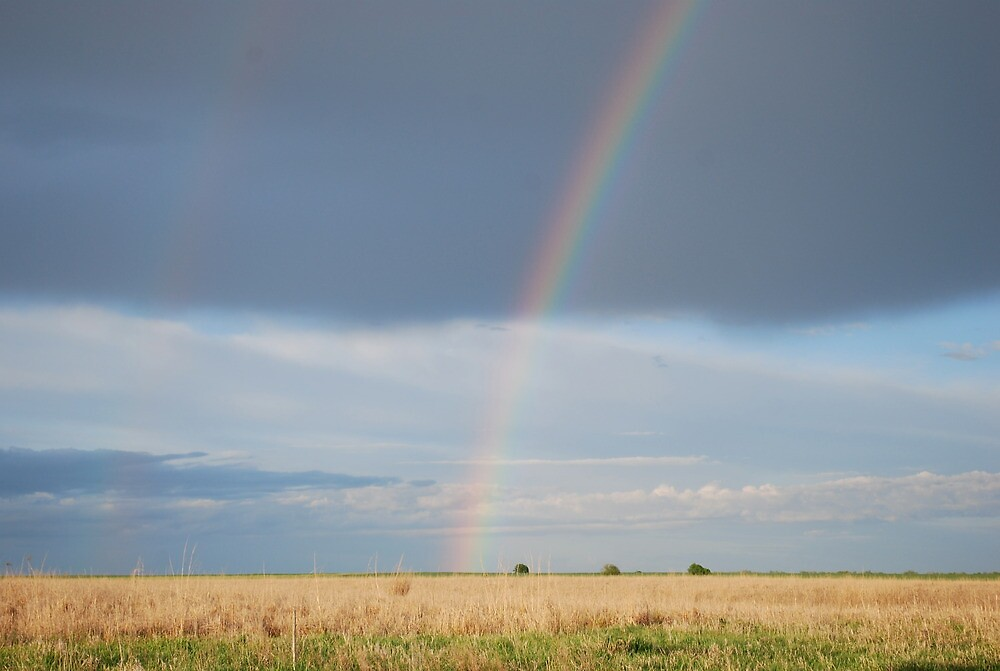 Double Rainbow on Kansas Prairie by Suz Garten