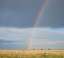 Double Rainbow on Kansas Prairie by Suz Garten