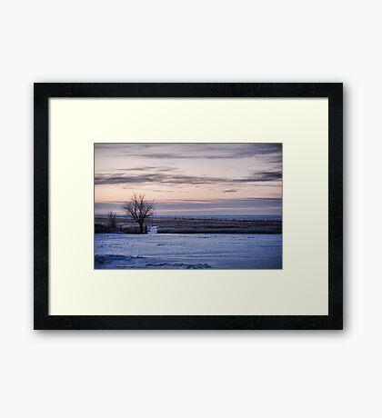 Snowy Prairie Landscape Framed Print