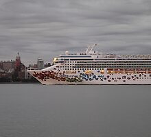 Cruise Ship Norwegian Gem On The Hudson Rv. by pmarella