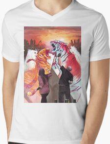 Dueling Tigers Mens V-Neck T-Shirt