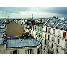 Eiffel Tower over Montmartre roofs Photographic Print
