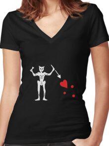 Blackbeards Flag Women's Fitted V-Neck T-Shirt