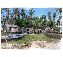 Remote Indonesian Island Village Poster