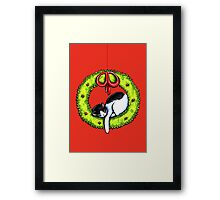 Christmas Kitty Wreath Framed Print