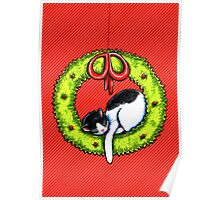 Christmas Kitty Wreath Poster