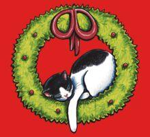 Christmas Kitty Wreath One Piece - Short Sleeve