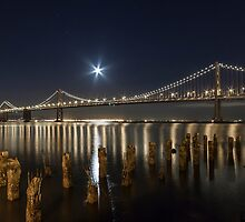 Bay Bridge with Moon by Richard Thelen