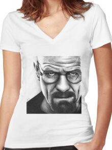Walter White - Portrait Women's Fitted V-Neck T-Shirt