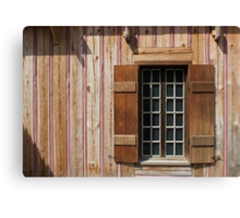 Brown Window with Pink Horizontal Canvas Print