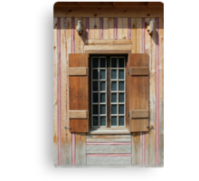 Brown Window with Pink Vertical Canvas Print