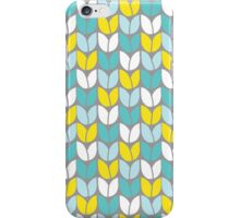 Tulip Knit (Aqua Gray Yellow) iPhone Case/Skin
