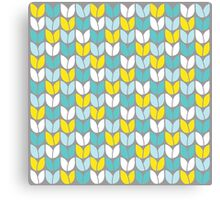 Tulip Knit (Aqua Gray Yellow) Canvas Print