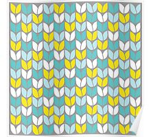 Tulip Knit (Aqua Gray Yellow) Poster