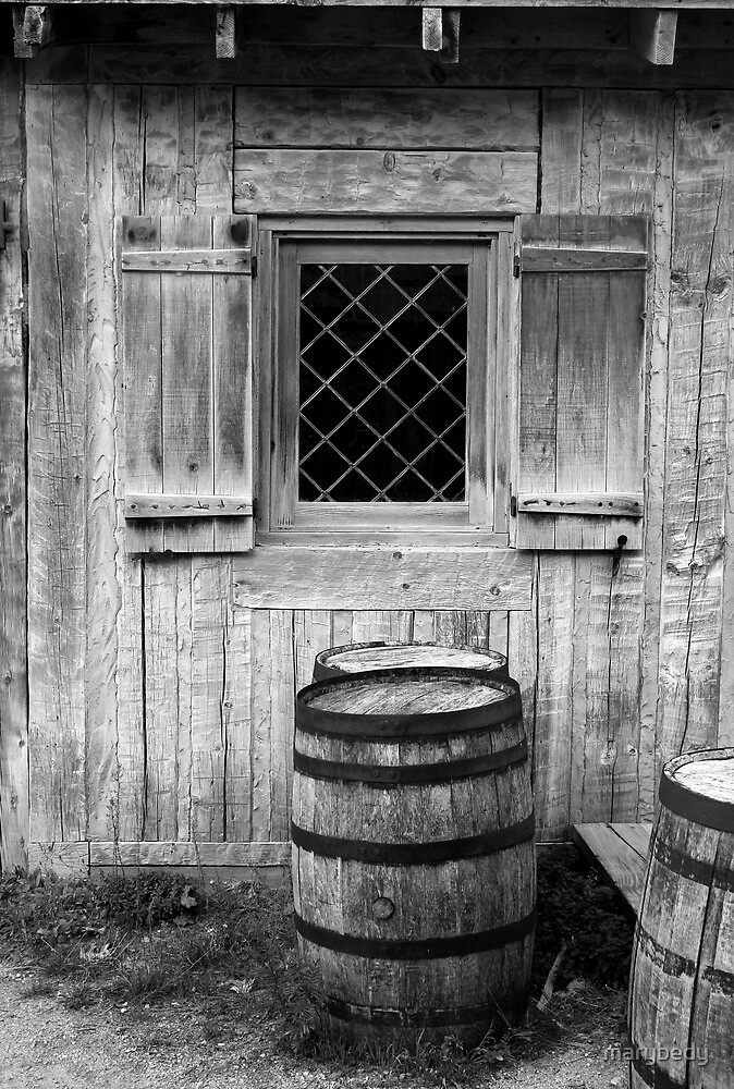 Fort Michilimackinac Window and Barrel BW by marybedy