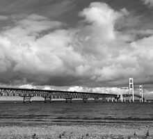 Mackinac Bridge Cloudy Day Lake Huron Side by marybedy