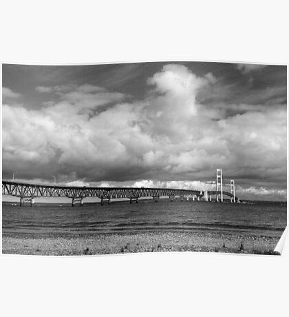 Mackinac Bridge Cloudy Day Lake Huron Side Poster