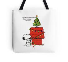 christmas snoopy lights tree Tote Bag