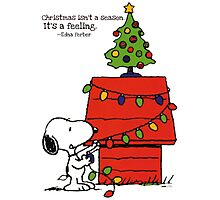 christmas snoopy lights tree Photographic Print